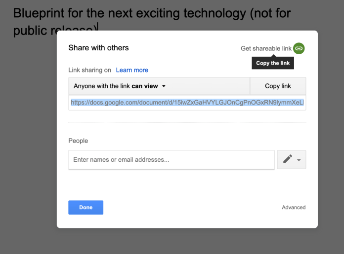 Google Docs link sharing turned on