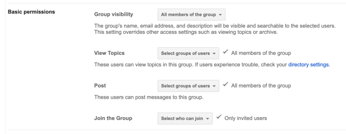 Google group permissions