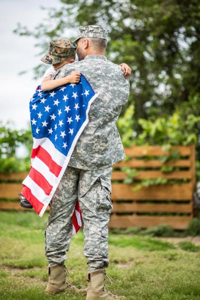 Soldier reuniting with family