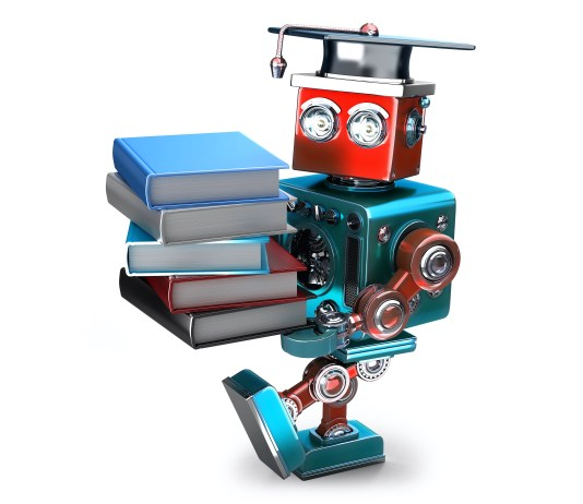 robot carrying a stack of books