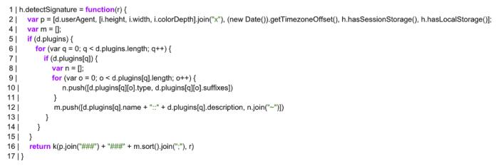 browser fingerprintint script