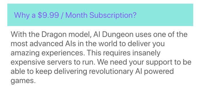AI Dungeon pricing plan
