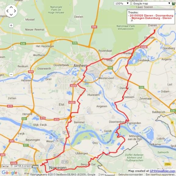 Dieren – Doornenburg – Nijmegen Dukenburg – Dieren, 98 km.