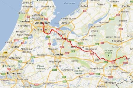Dieren – Baarn – Amsterdam, 136 km.