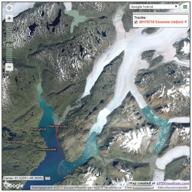 Het ijsfjord met de GPS track.