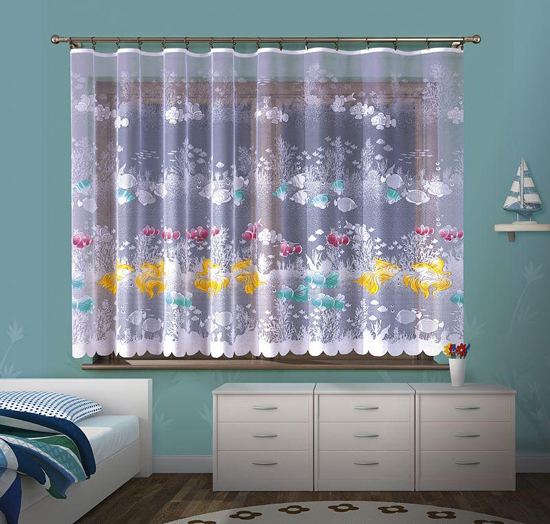 Children's Net Curtain Nemo Fish Ocean Sea Life Ready Made