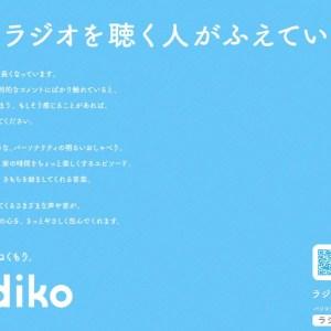 ラジコの新聞広告「ちょうどいいぬくもり。radiko」ラジオを聴く人が増えている