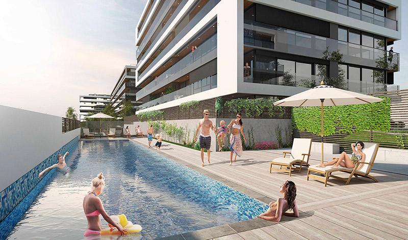 piscina pisos de alquiler BeCorp