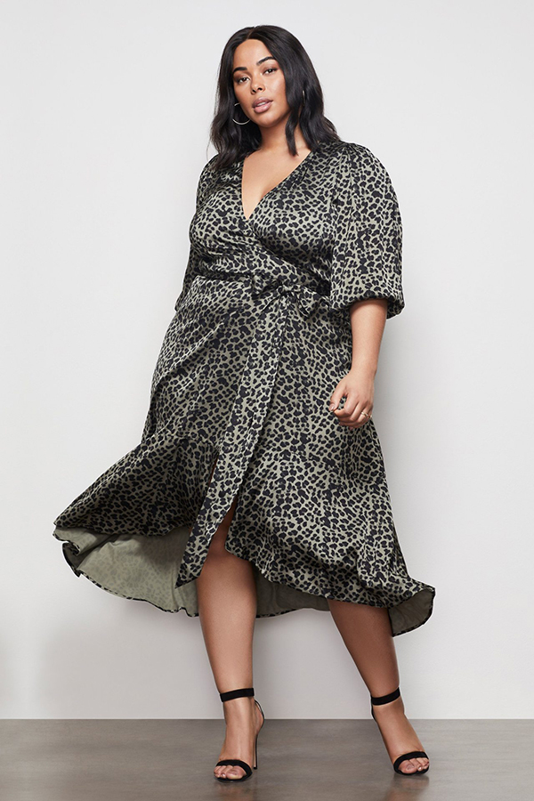 Woman wearing an animal print cocktail dress.