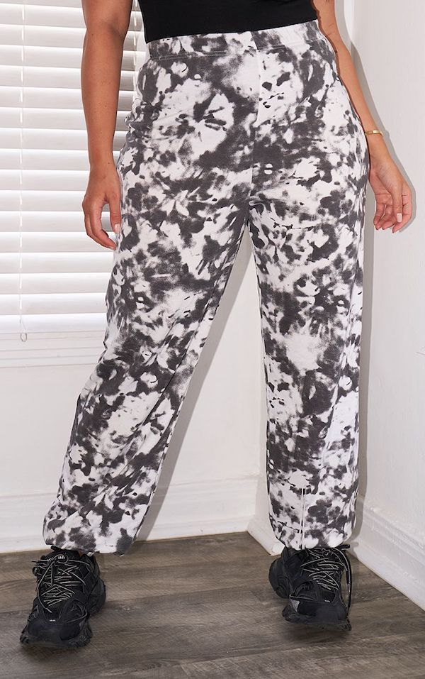 black and white tie dye sweatpants