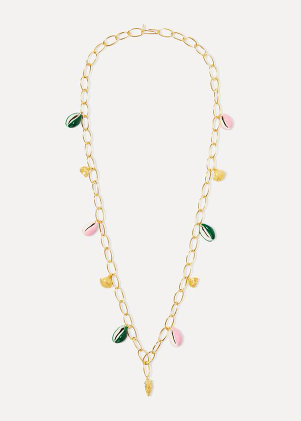 A gold chain necklace with painted cowrie shells on it.