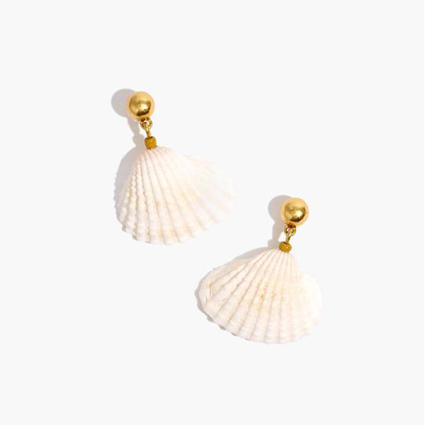 A pair of scallop shell earrings.