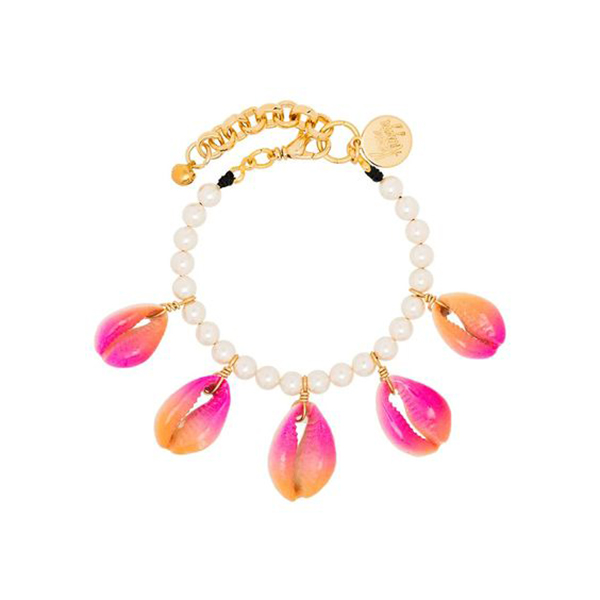 A pearl bracelet lined with pink and orange painted cowrie shells.