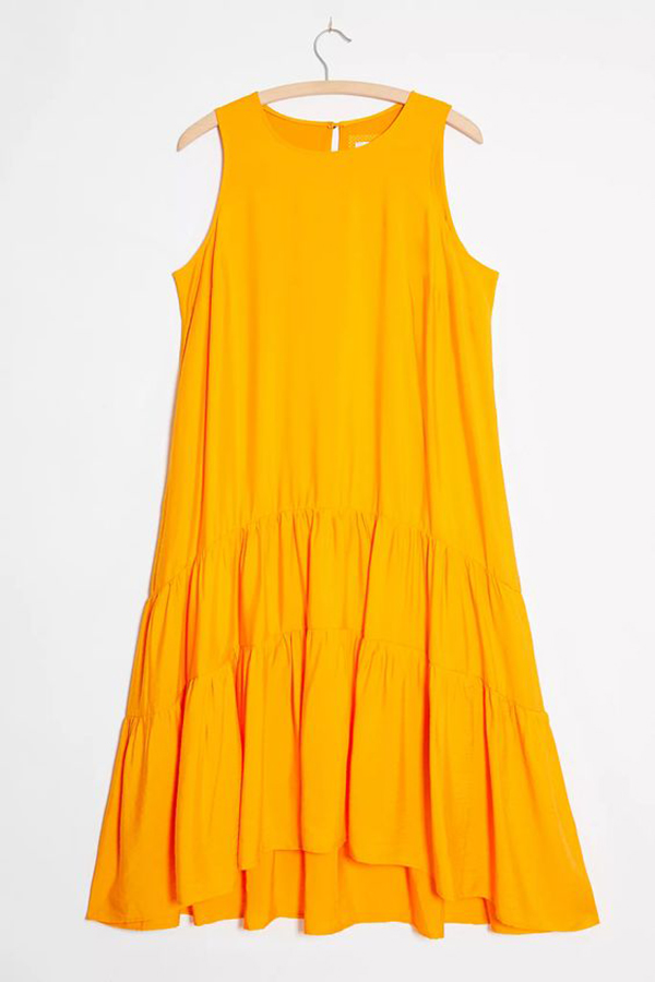 A plus-size tangerine shift dress.