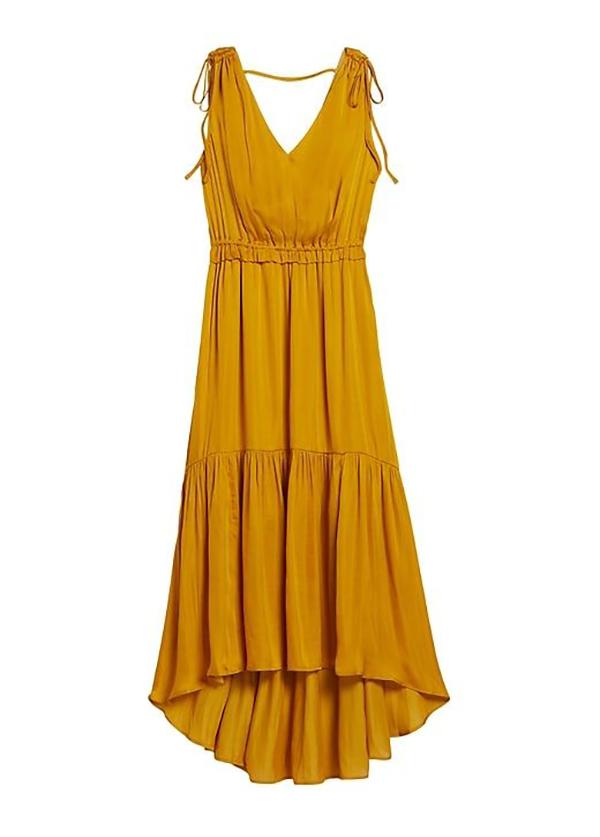 A plus-size gold midi dress.