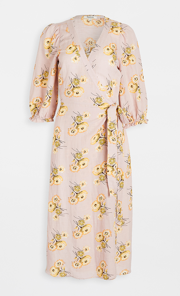 A plus-size floral midi dress.