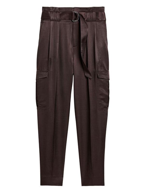 A pair of plus-size dark brown cargo pants.