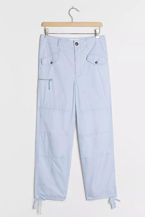 A pair of plus-size light blue cargo pants.