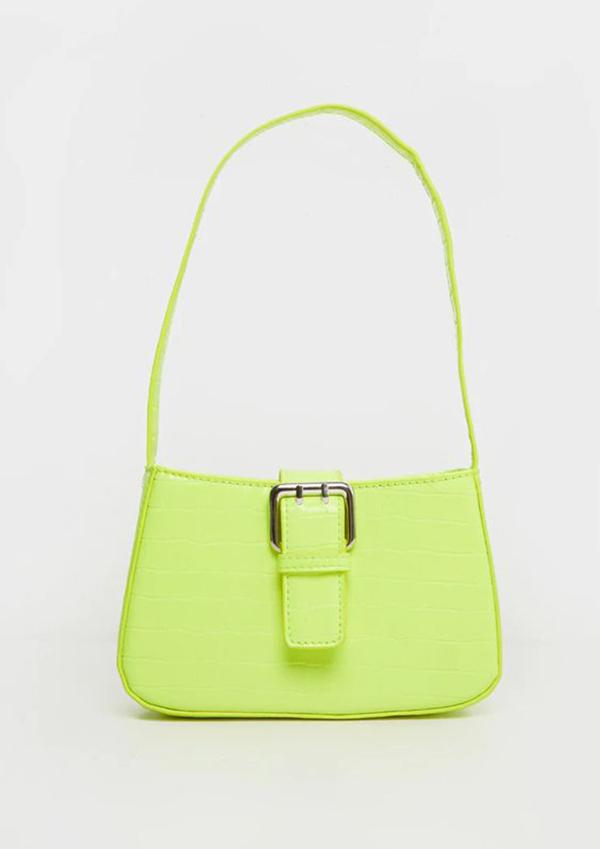 A neon yellow-green handbag.