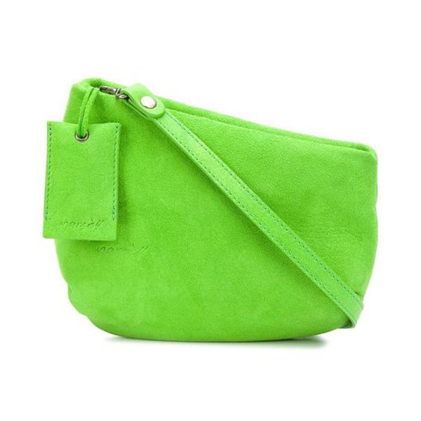 A neon green crossbody bag.