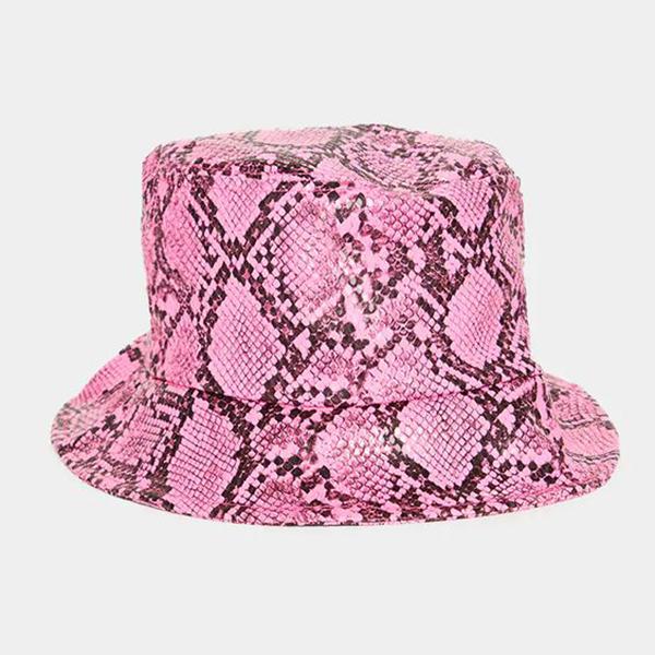 A neon pink snakeskin bucket hat.