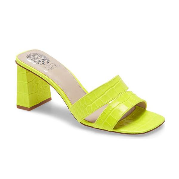 A neon yellow slip-on heel.