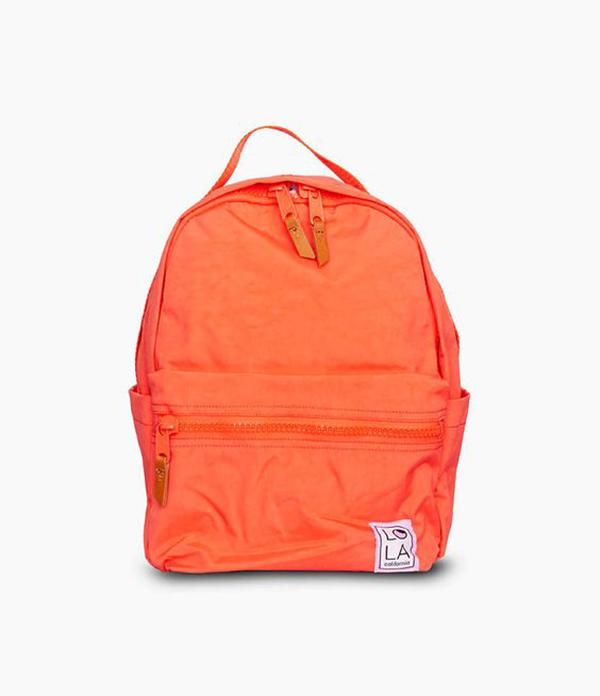 A neon orange backpack.