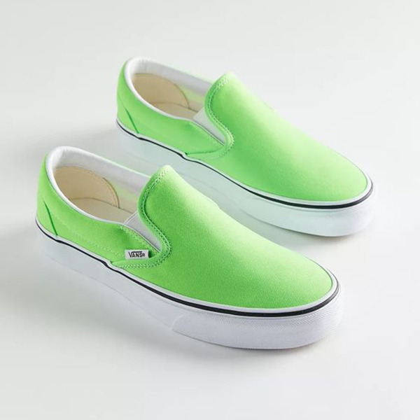 A pair of neon green sneakers.