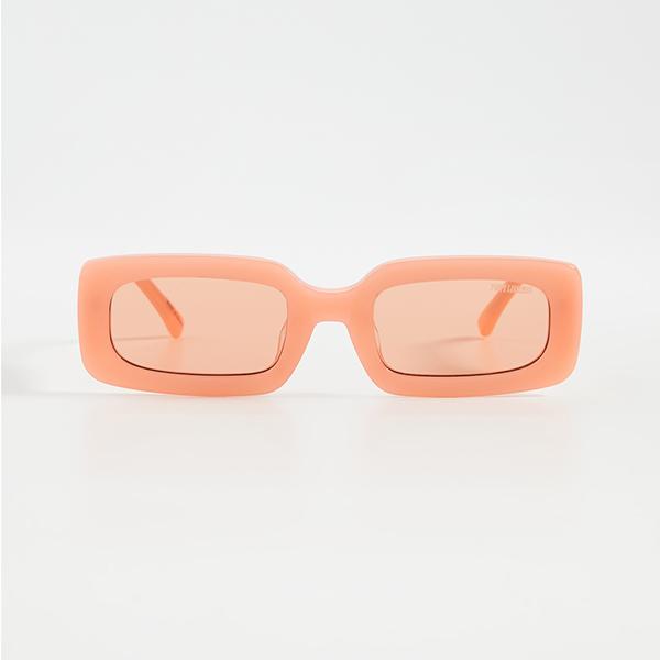 A pair of neon orange sunglasses.