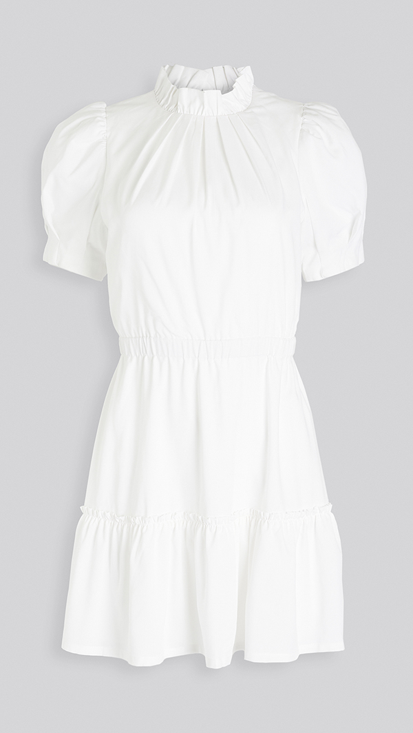 A plus-size white mini dress.