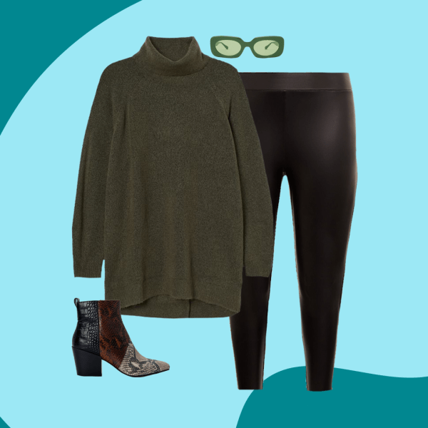 A collage with green sweater, animal print booties, black leggings, and green sunglasses.