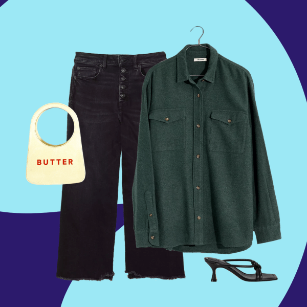 "A collage with a green flannel shirt, black jeans, a white purse that says ""butter,"" and black heels."