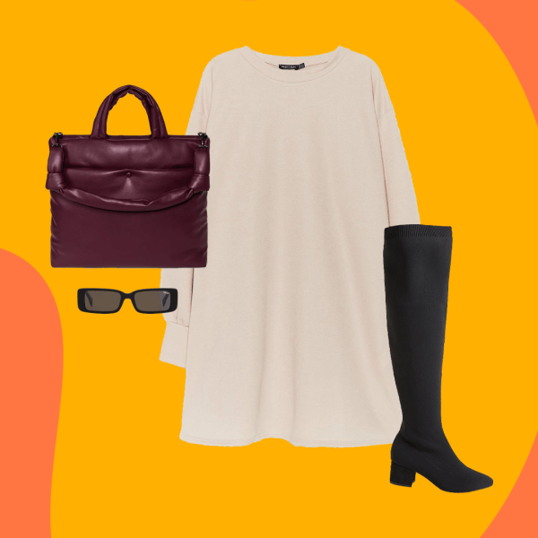 A collage with a cream sweatshirt dress, black boots, a dark red purse, and black sunglasses.