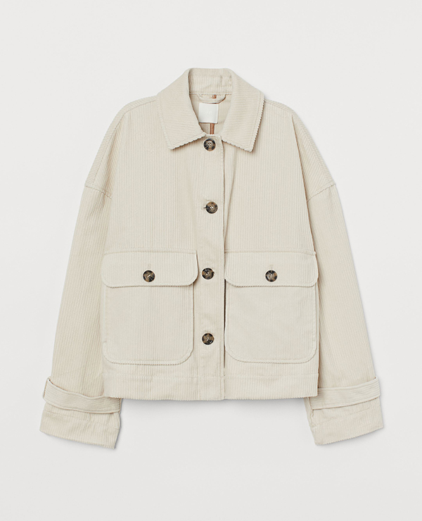A plus-size white corduroy shacket.