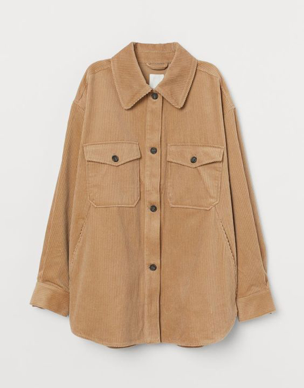 A plus-size corduroy shacket.
