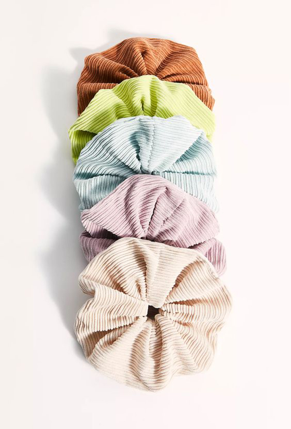 A line of colorful corduroy scrunchies.