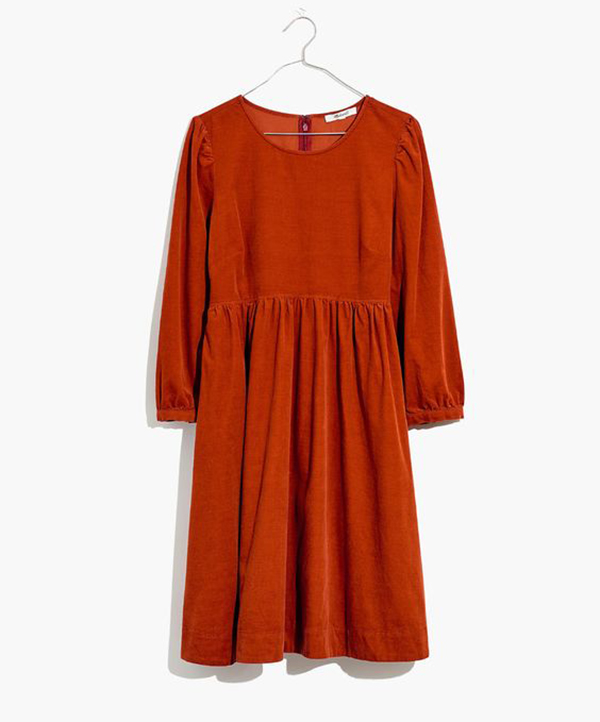 A plus-size corduroy rust-orange dress.