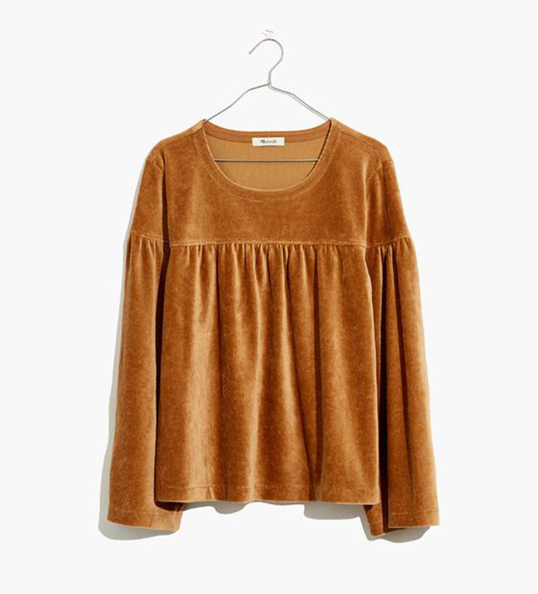 A plus-size corduroy top.
