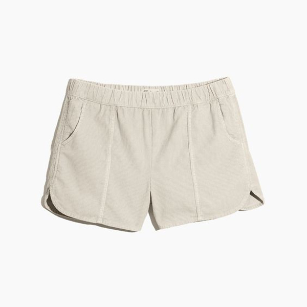 A pair of plus-size corduroy shorts.