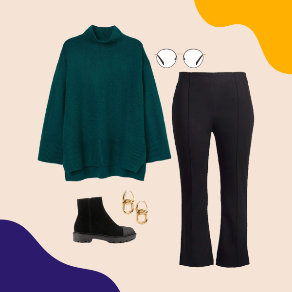 A collage with a green turtleneck sweater, black lug sole booties, gold earrings, blue light glasses, and black flared pants.
