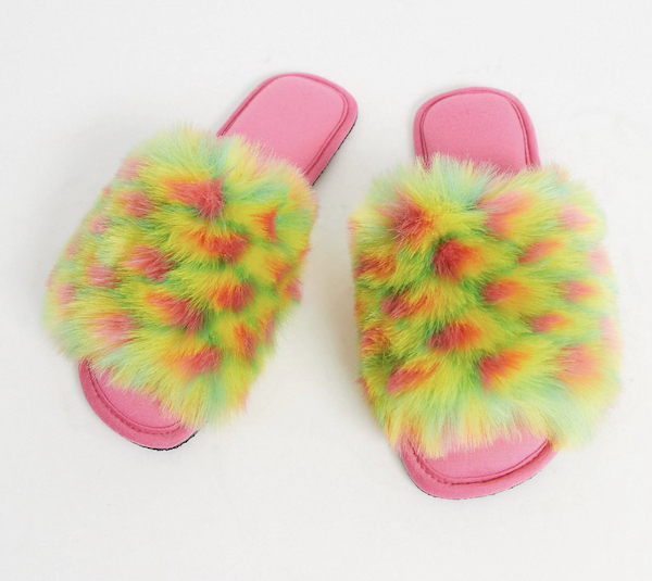 Pink and Yellow Fuzzy Slippers