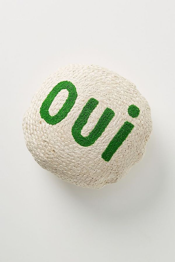Green and White Oui Pillow