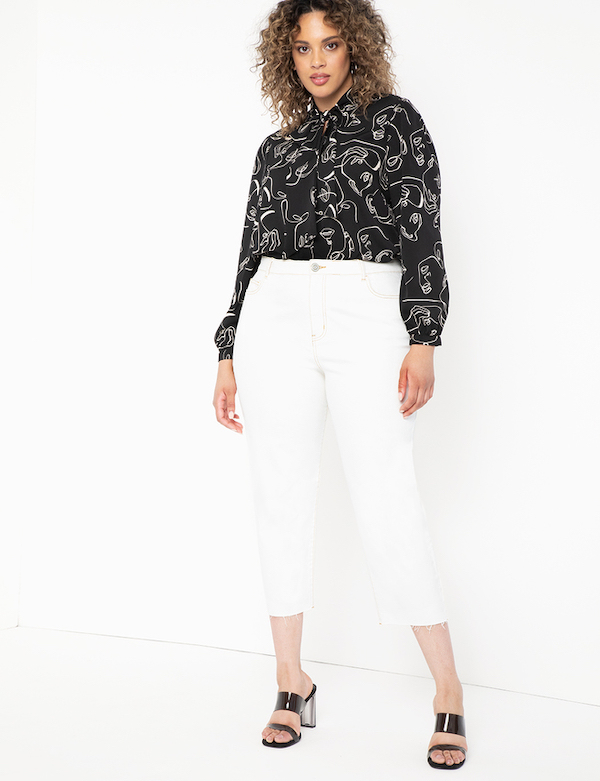 Printed Black and White Top