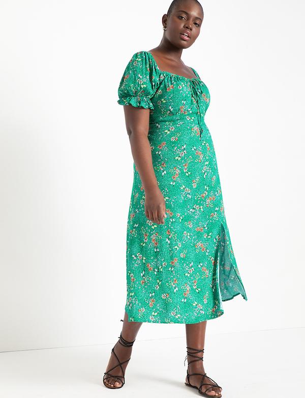 Green Floral Midi Dress