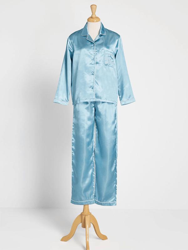 A plus-size blue pajama set.