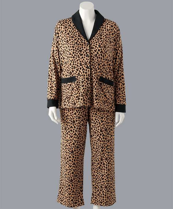 A plus-size leopard print pajama set.