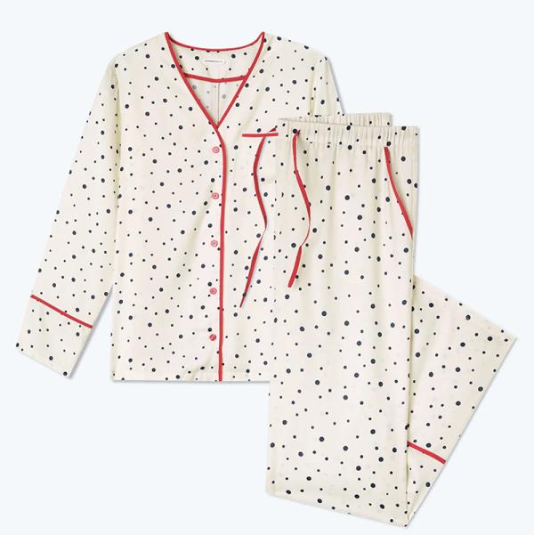 A plus-size polka dot pajama set.