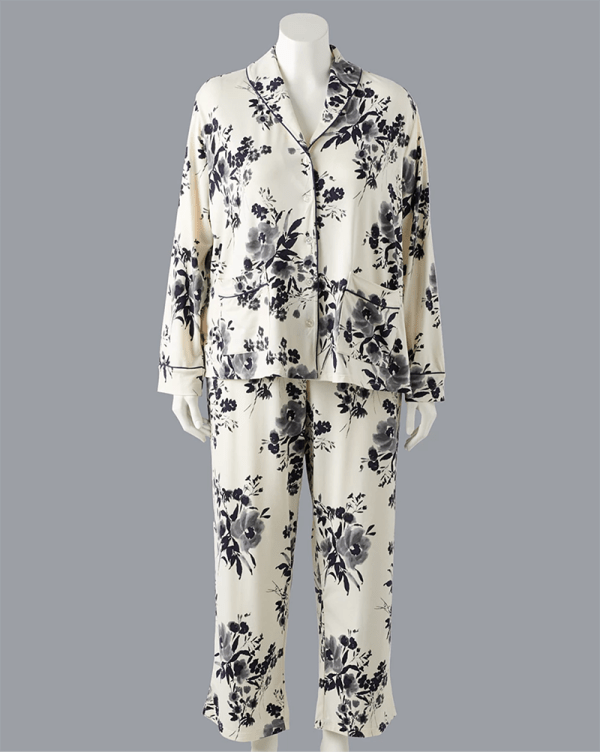 A plus-size floral printed pajama set.