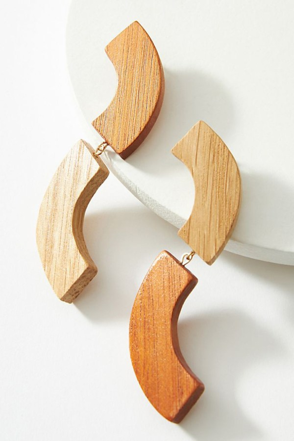Wood drop earrings shaped like squiggles