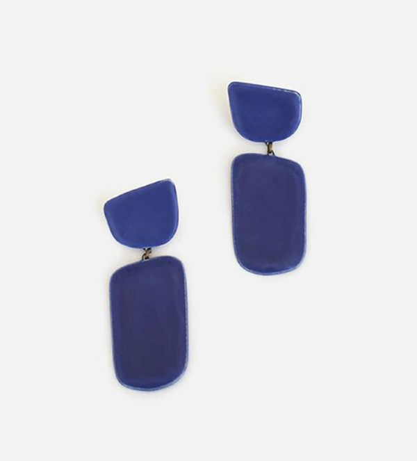 Thick blue drop earrings